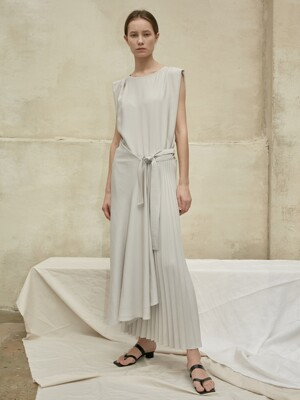 Dress Asymmetric Pleats Light Gray