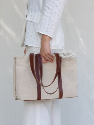 Leather Canvas Shopper Bag