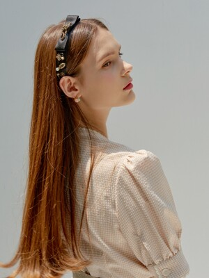 Classic Satin Ribbon Crystal Hairband _ Black Dia
