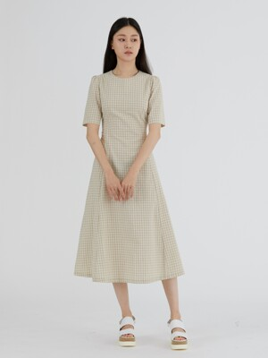 RIBBON POINT CHECK DRESS - BEIGE