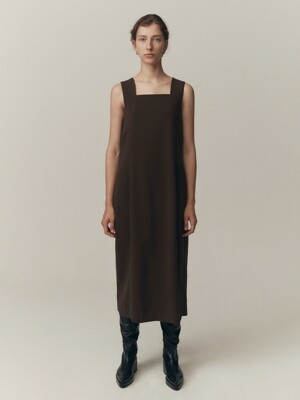 20FW VOLUME LINE DRESS - DARK BROWN