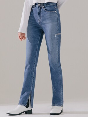 W21 SIDE SLIT STRAIGHT DENIM_MEDIUMBLUE
