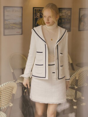 [Premium] Tweed Sailor Jacket + Mini Skirt SET