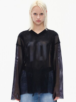 MESH NUMBER PRINT T-SHIRT, BLACK