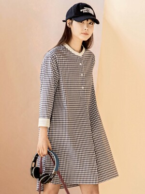 Gingham Check Navy Dress