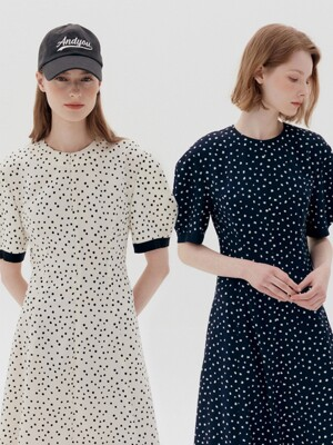 POSITANO Bishop short sleeve dress (Ivory dot/Navy dot)