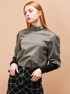 CHECK PUFF SLEEVE BLOUSE_BROWN