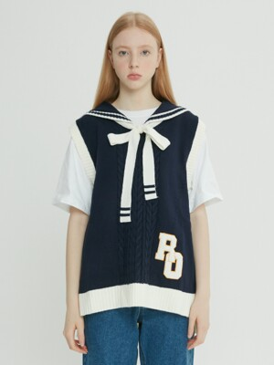 (TS-18535) SAILOR RIBBON KNIT VEST NAVY