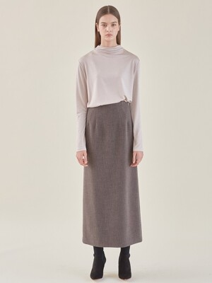 maxi long skirt-grey brown