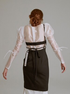 19SS PUFF-SLEEVE ORGANZA BLOUSE (WHITE)