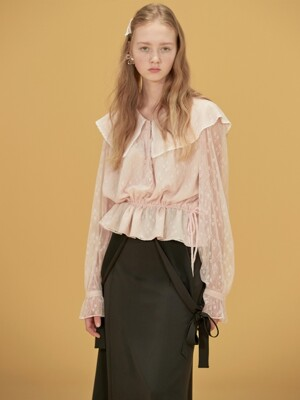 BIG COLLAR LACE BLOUSE - LIGHT PINK