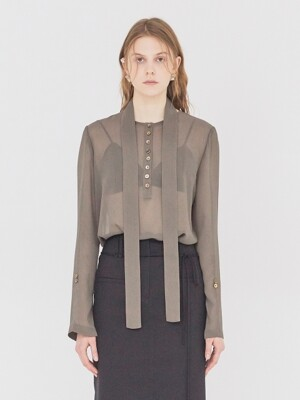 19SS SHEER BLOUSE WITH BELT MAJOR BROWN