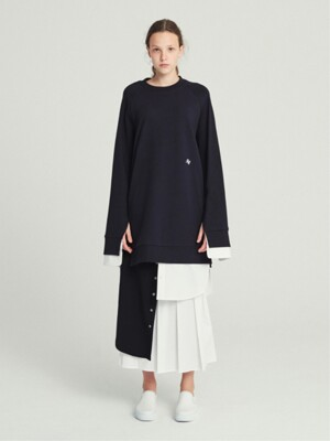 PLEATED PANEL WRAP SKIRT (NAVY)