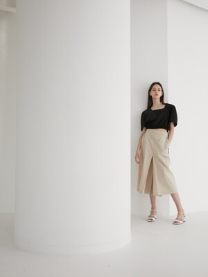 19' SUMMER_Beige Cotton Midi Casual Skirt