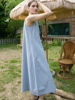 Linen Ballon Dress - Blue