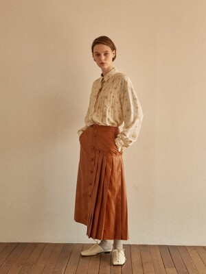 ALLER PLEATED SKIRT CARAMEL LEATHER