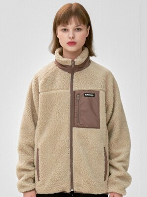 BOA FLEECE ZIP-UP JACKET / beige & brown