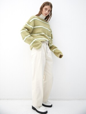 MELONWHITE blushed alpaca stripe knit (KT015)