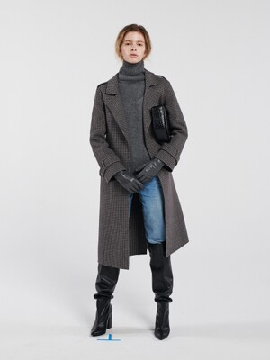CHECK HANDMADE COAT GREY