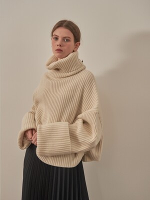 OVERSIZE LAMBSWOOL KNIT [IVORY]