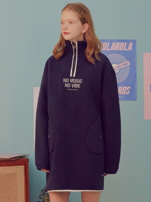 (OP-19716) FLEECE ANORAK ONE-PIECE NAVY