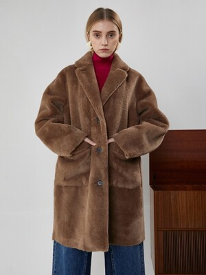 REVERSIBLE WOOL FUR COAT - PK,NV,BR