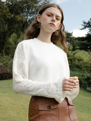 monts 1012 knit lace blouse (ivory)