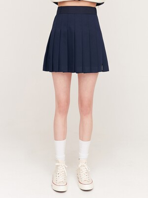 PLEATS MINI SKIRTS_navy