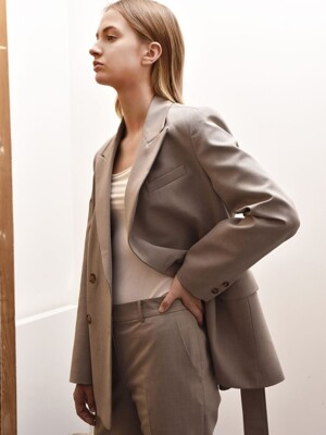LUNA BELTED DOUBLE JACKET (Brown)