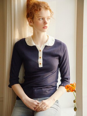 Freesia Ruffle Knit_Navy