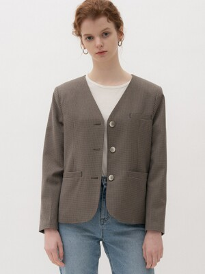 monts 1079 check collarless Jacket (brown check)