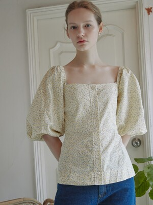 Marie Puff Square Blouse_ Flower Yellow