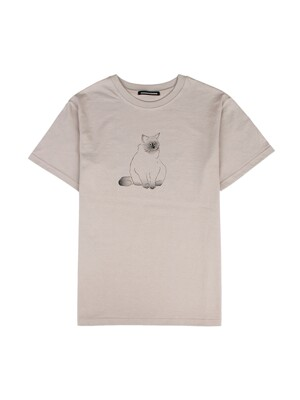 SIAMESE CAT OVER FIT TEE_BEIGE