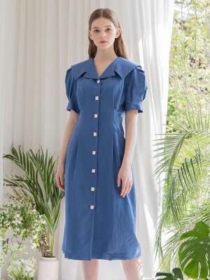 Sailor Collar Button Dress Blue