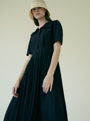 comos'394 sailor pleated dress (navy)