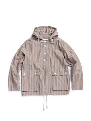 HOODED SHIRT / BEIGE BOLD STRIPE