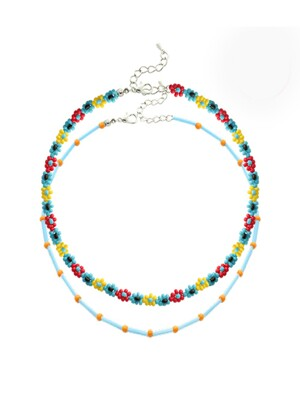 Color Beads Flower Necklace Set