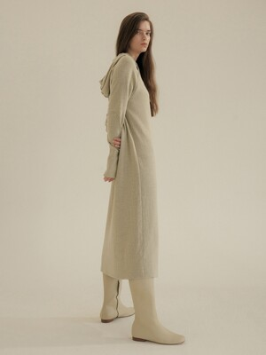 warm knit hoody one-piece(CREAM)