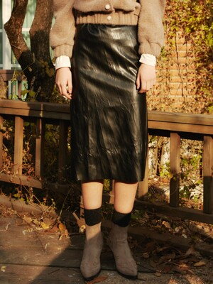 A3 WRINKLE LEATHER SKIRT_(2color)