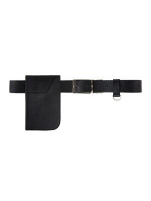 [UNISEX] REVERSIBLE COW HIDE POCKET BELT - BLACK
