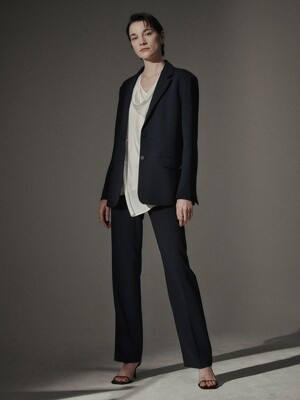 [Drama Signature] Two-button Blazer + Bootcut Trousers SET (NAVY)