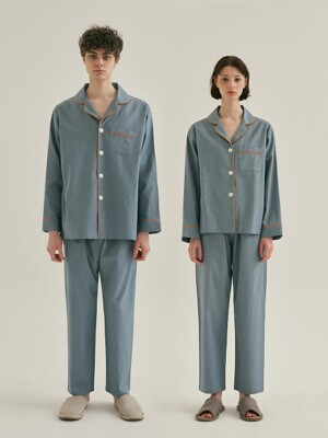 (Couple) Turkish Blue Pajama Set