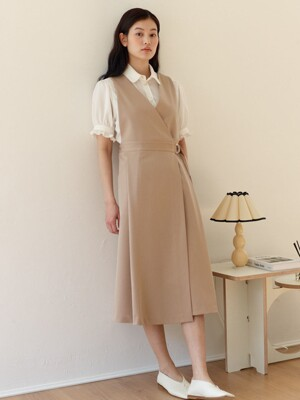 Button-up Wrap Dress_Beige