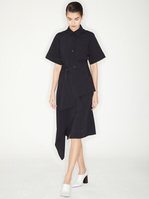 PINTUCK WRAP SHIRTS DRESS_BLACK