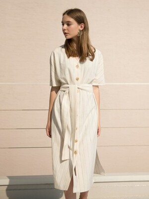 17RESORT V-NECK BUTTON ROBE DRESS_2COLOR
