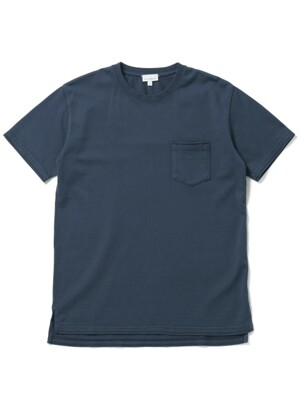 [EXCLUSIVE COLLECTION] JERSEY MID-POCKET TEE - MELANGE NAVY
