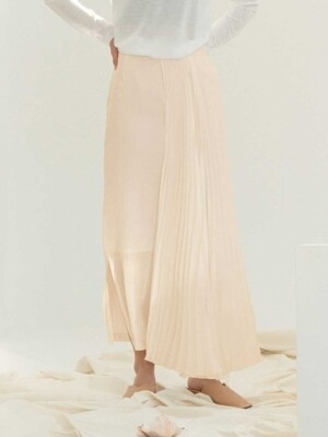 PLEATS WING LONG SKIRT(PINKBEIGE)