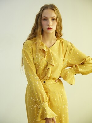 YELLOW DOT FRILL BLOUSE