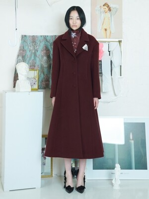 FLARE WOOL COAT [WINE]