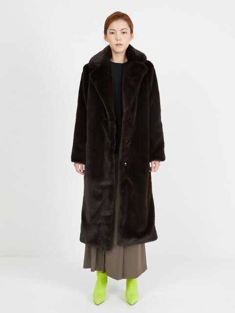 ROUND COLLAR FUR COAT_BROWN